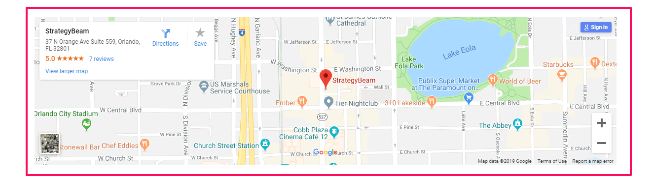 local page on page optimization local seo map embed