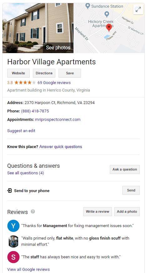 apartment marketing ideas google my business reviews