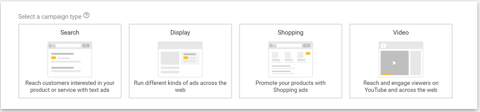 google ads campaign setup type