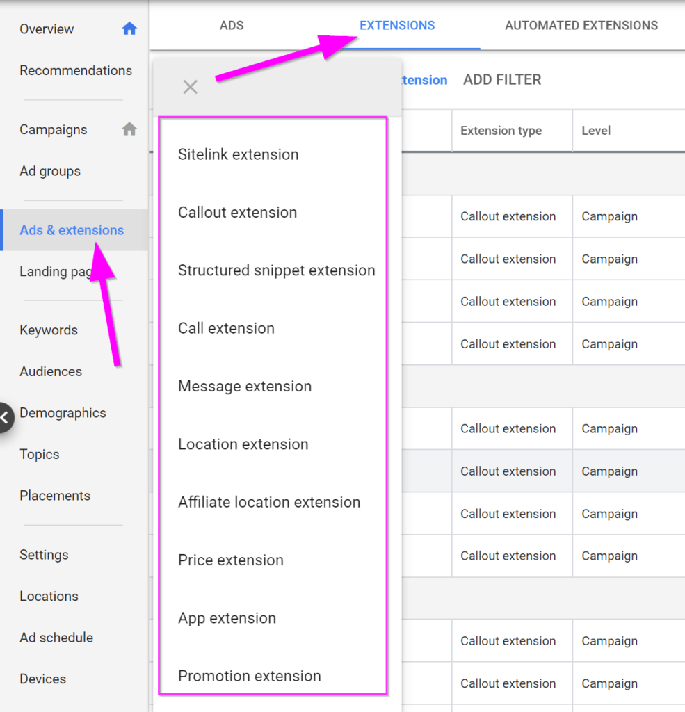 google adwords management extensions