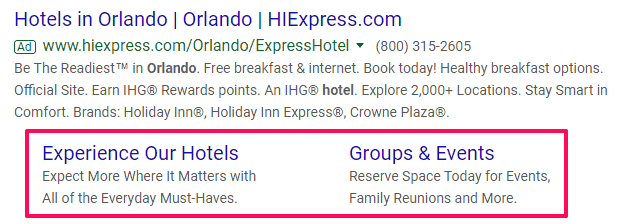 site link extension google adwords management