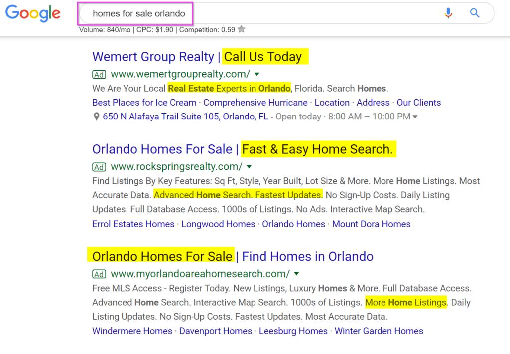 real estate marketing ideas google adwords text ad copywriting