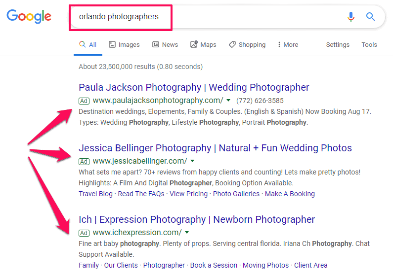 photography marketing google ads
