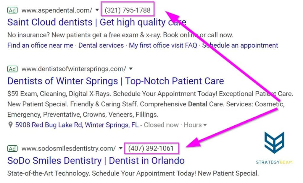 dental marketing ideas google ads dental ads call extension