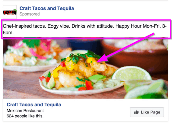 facebook ads for restaurants seasonal example