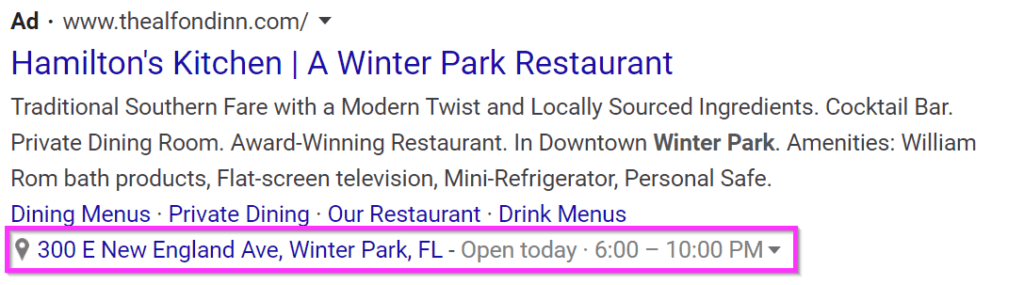 restaurant ads google ads location extensions