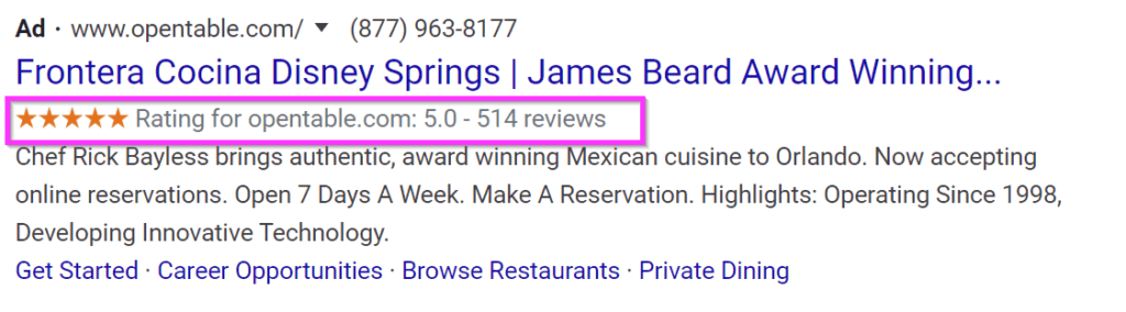 restaurant ads google ads sell rating extensions