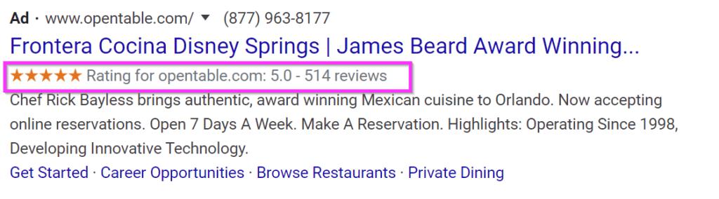 annunci di ristoranti annunci google vendono estensioni di valutazione