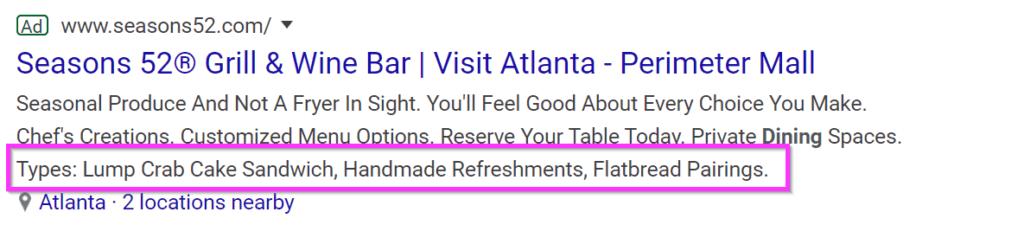 restaurant ads google ads structured snippet