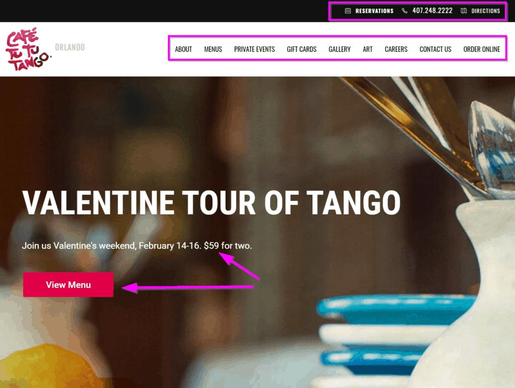 restaurant website homepage design ideas