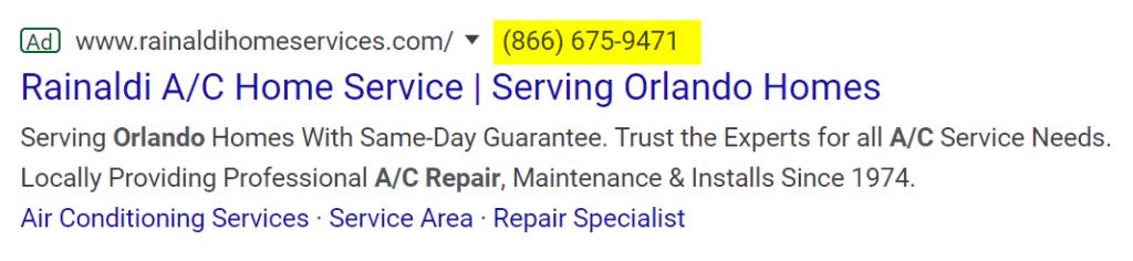 hvac ads call extension google ads