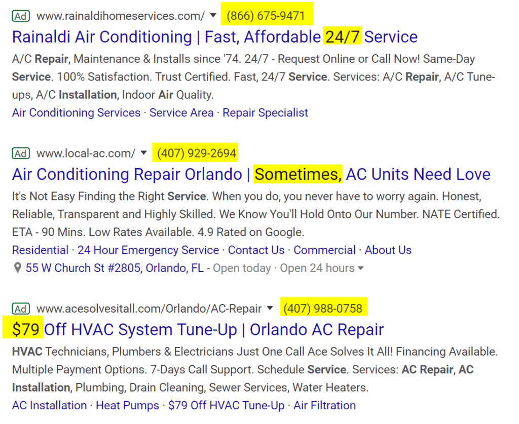 hvac ad copywriting tips numbers