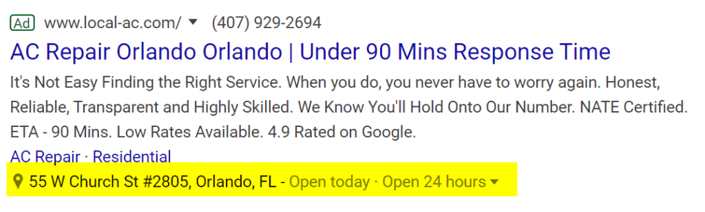 location extension google ads hvac ads