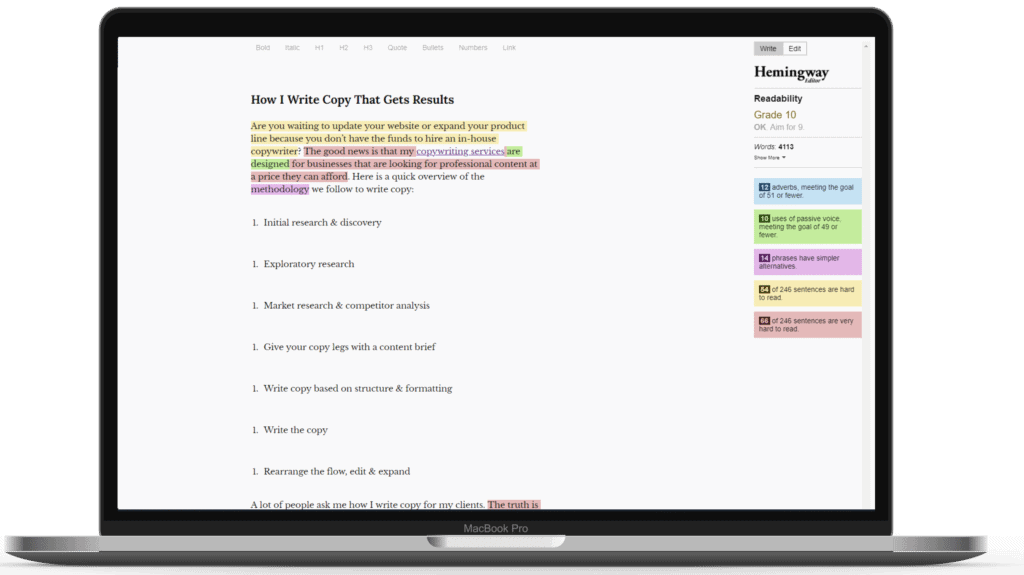 content optimization tools hemingway editor strategybeam