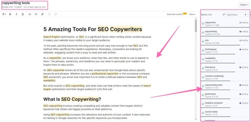 seo copywriting tools clearscope strategybeam